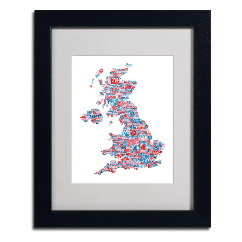 11 in. x 14 in. UK Cities Text Map 7 Matted