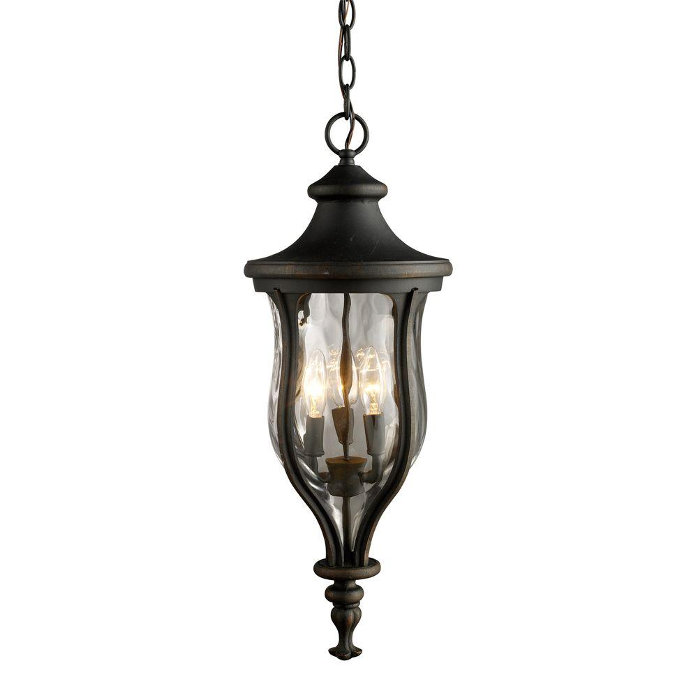 Titan Lighting 3-Light Hanging Outdoor Weathered Charcoal Pendant-DISCONTINUED