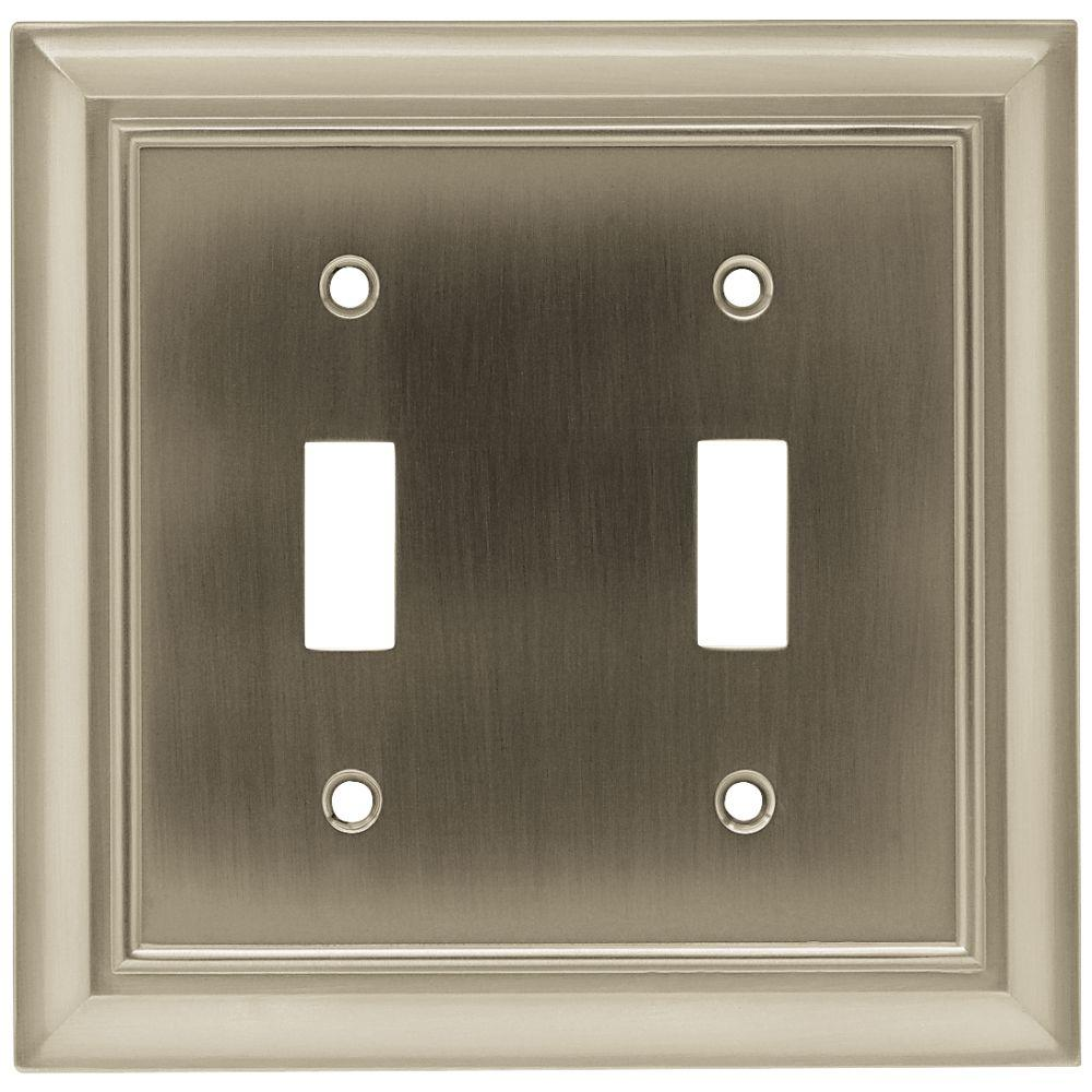 Architectural Decorative Double Switch Plate, Satin Nickel