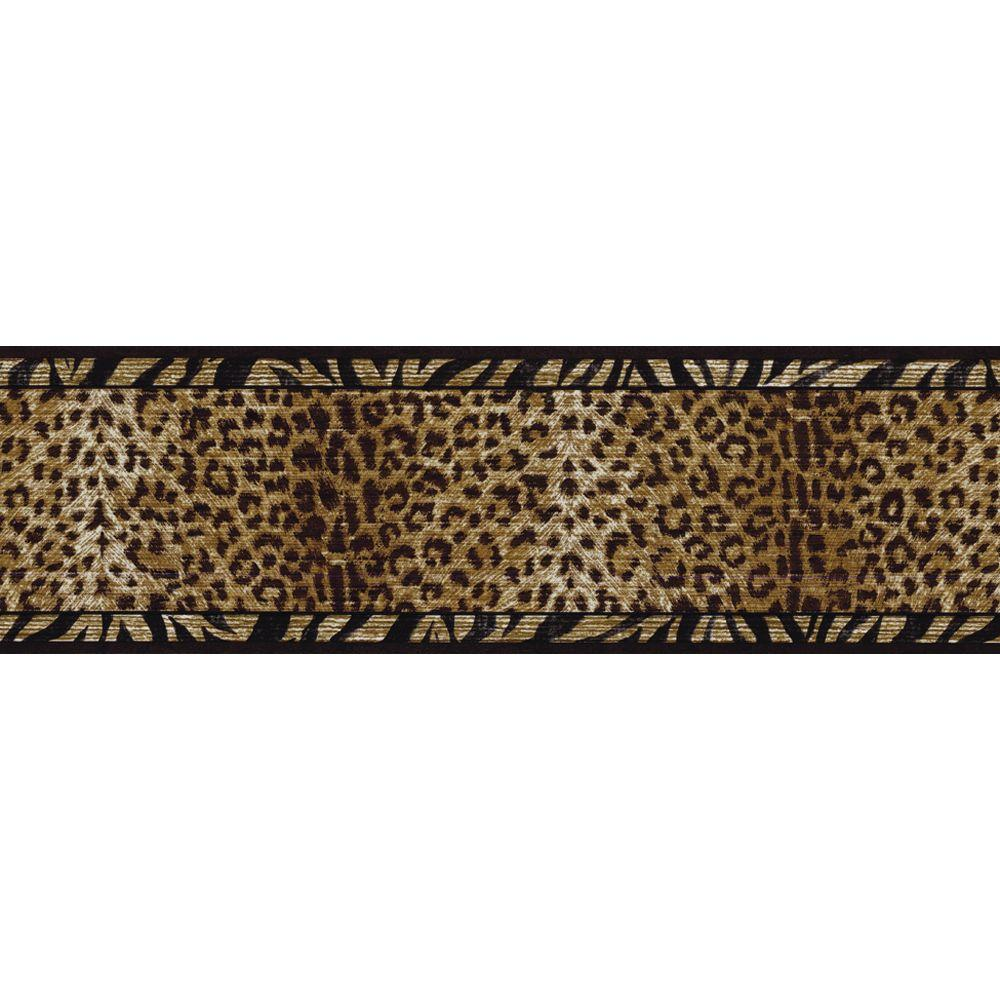 The Wallpaper Company 6.75 in. x 15 ft. Black and Gold Animal Print Border