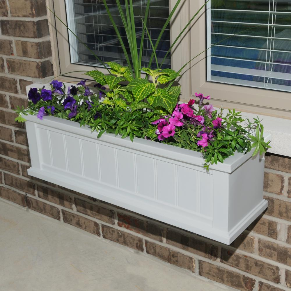 11 in. x 48 in. White Cape Cod Window Box