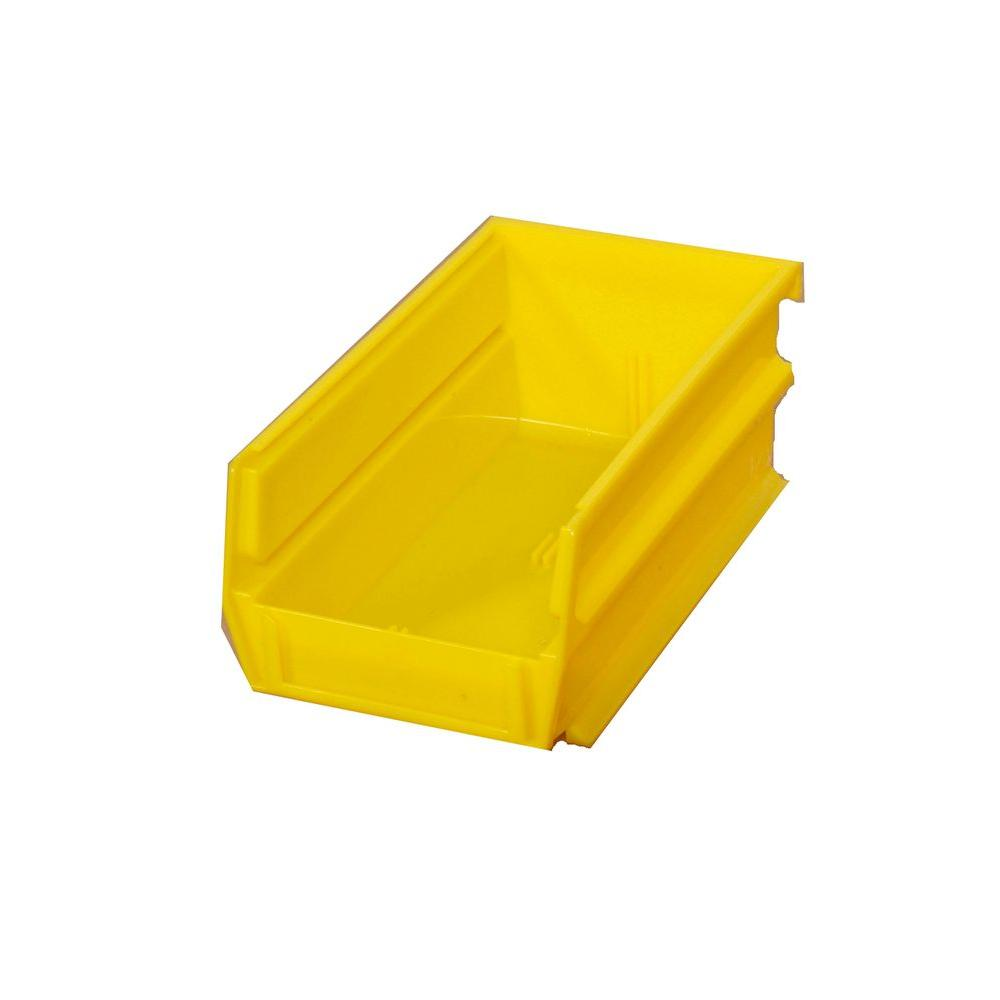 Triton Products 5-3/8 in. L x 4-1/8 in. W x 3 in. H Yellow Stacking, Hanging, Interlocking Polypropylene Bins (10-Count)