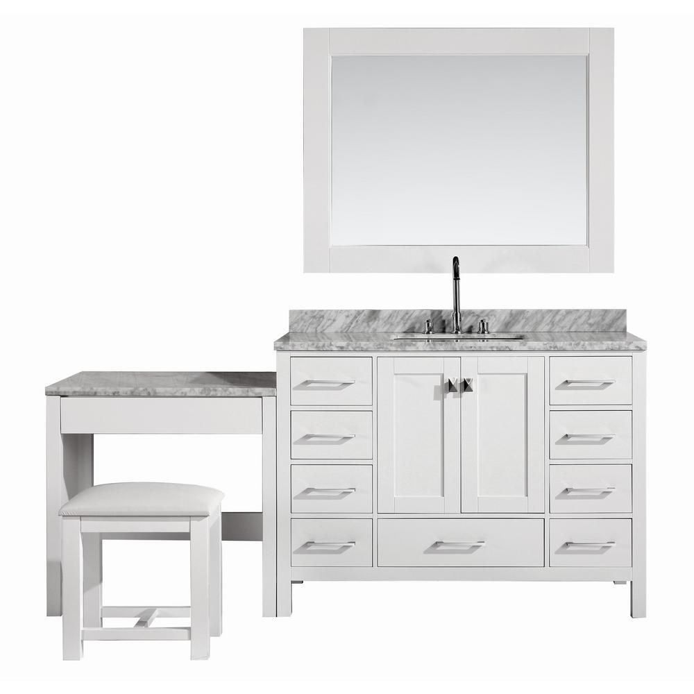 Design Element London 48 in. W x 22 in. D Vanity in White with Marble Vanity Top in Carrara White, Mirror and Makeup Table
