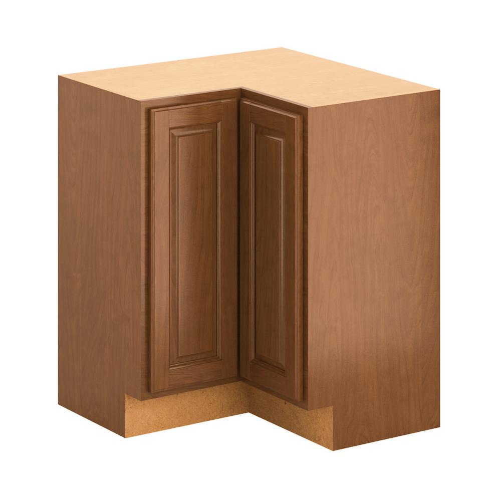 Assembled 28.5x34.5x28.5 in. Madison Lazy Susan Corner Base Cabinet in Cognac
