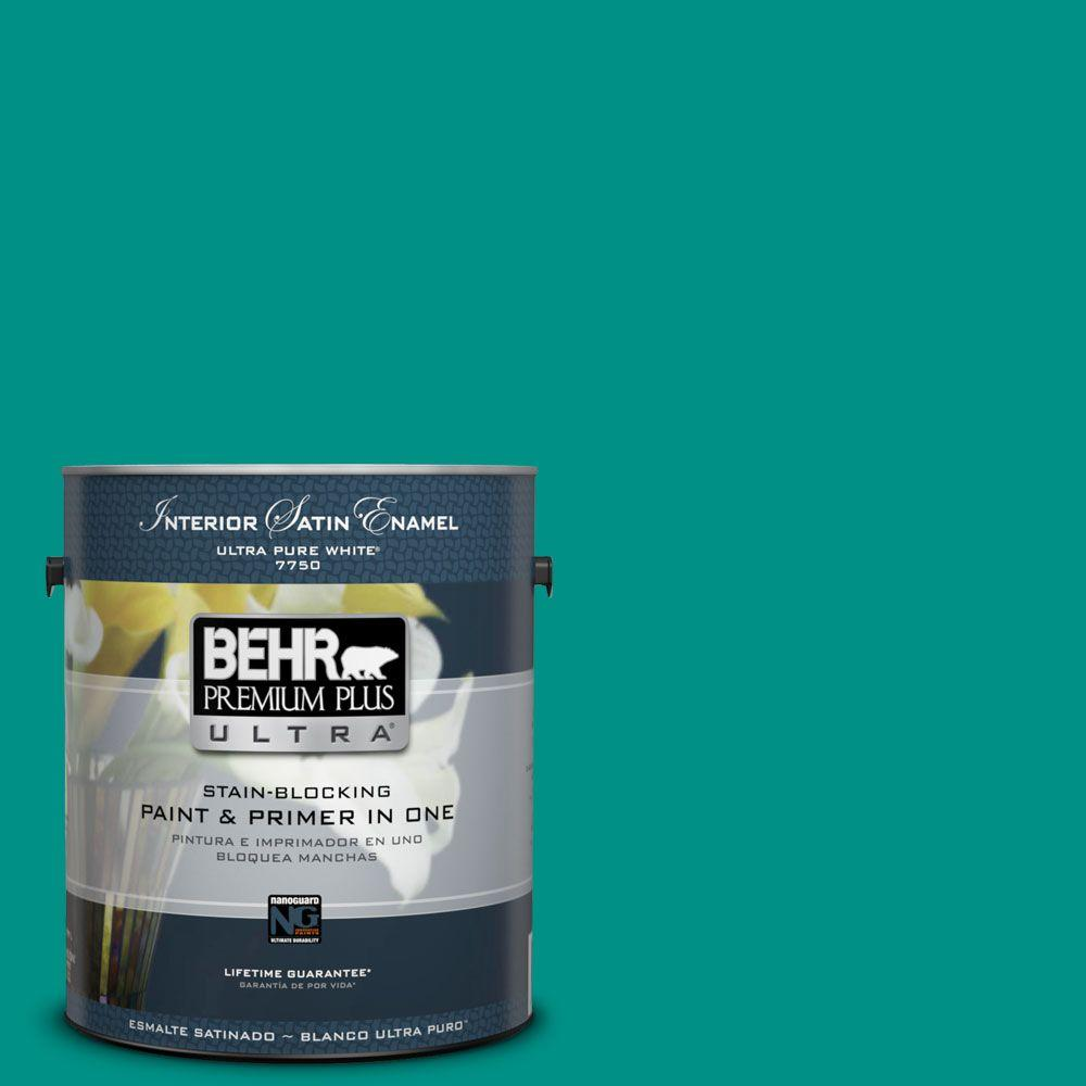 BEHR Premium Plus Ultra 1-gal. #490B-6 Emerald Coast Satin Enamel Interior Paint
