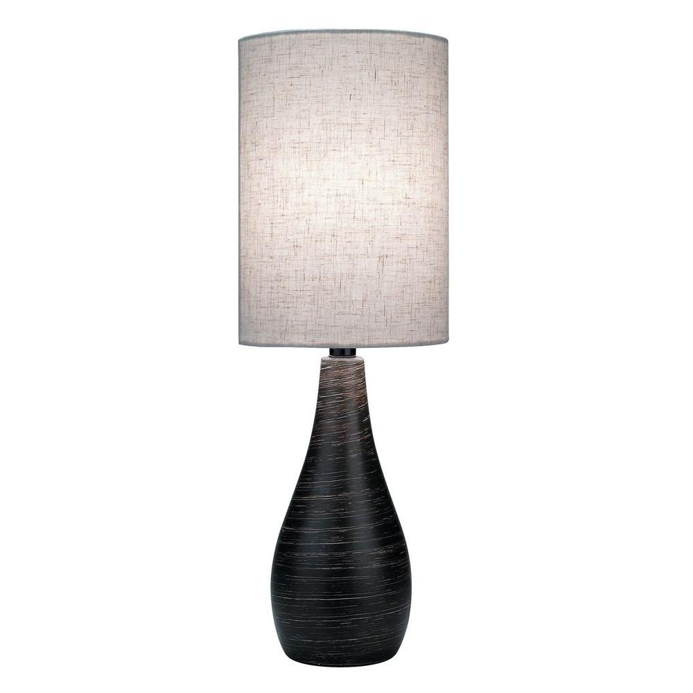 27 in. Bronze Table Lamp with Tan Linen