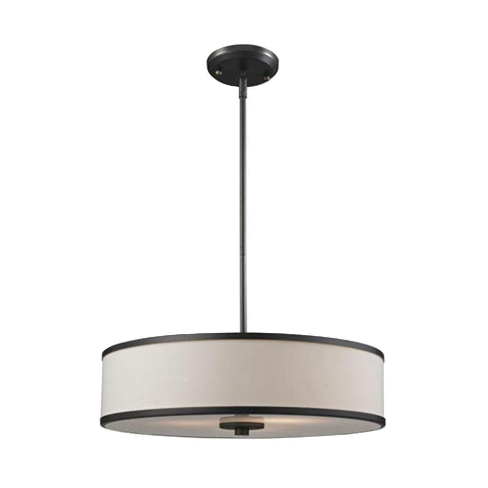 Lawrence 3-Light Creme and Bronze Incandescent Ceiling Pendant