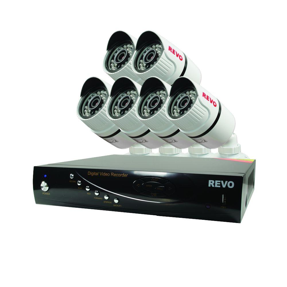 Revo Wired T-HD 8-Channel 1TB DVR Surveillance System with 6 T-HD