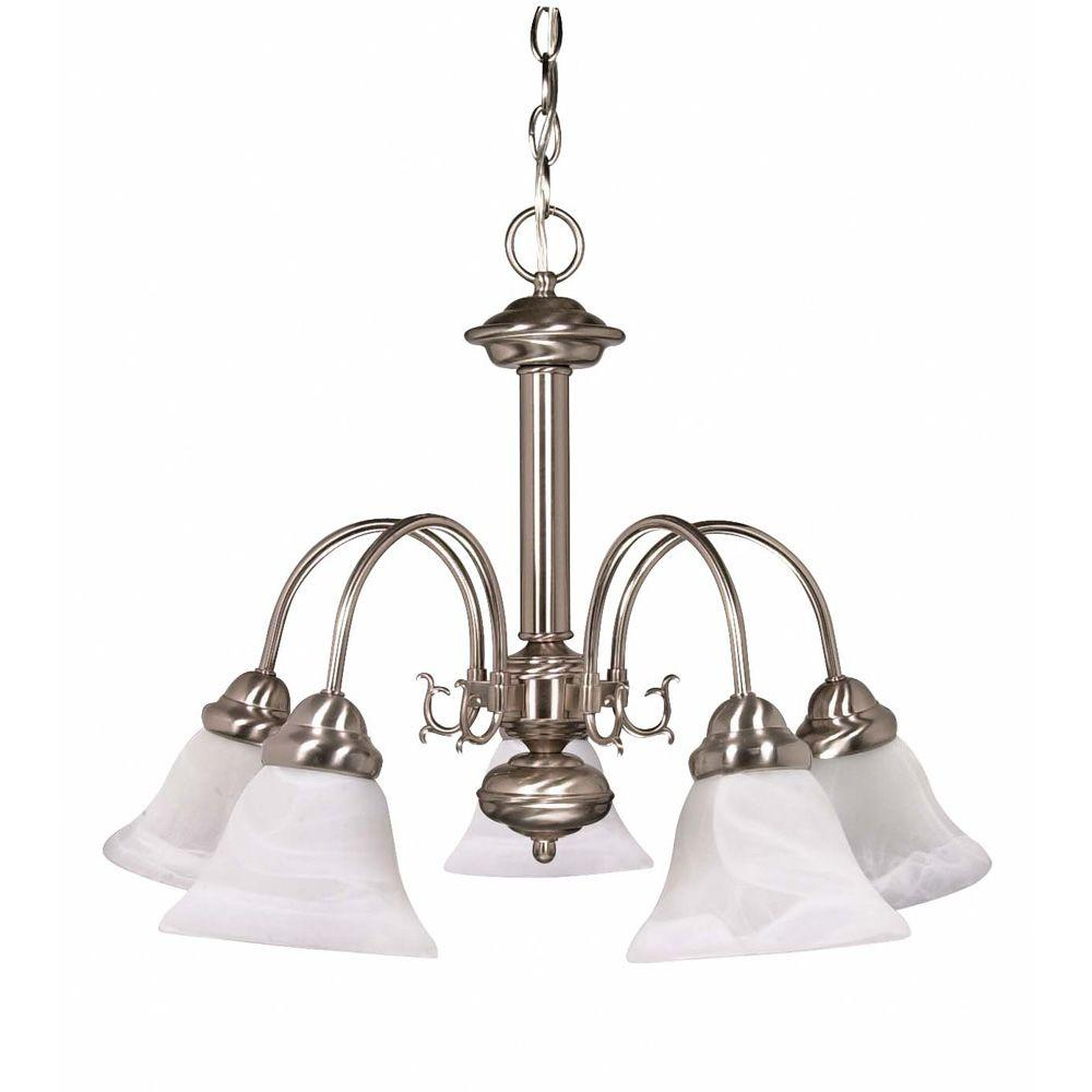 Glomar 5-Light Brushed Nickel Chandelier with Alabaster Glass Bell Shades-HD-181