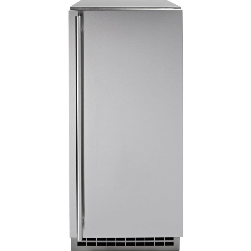 GE 15 in. Built-In 65 lbs. Freestanding Ice Maker in Stainless Steel (Silver)