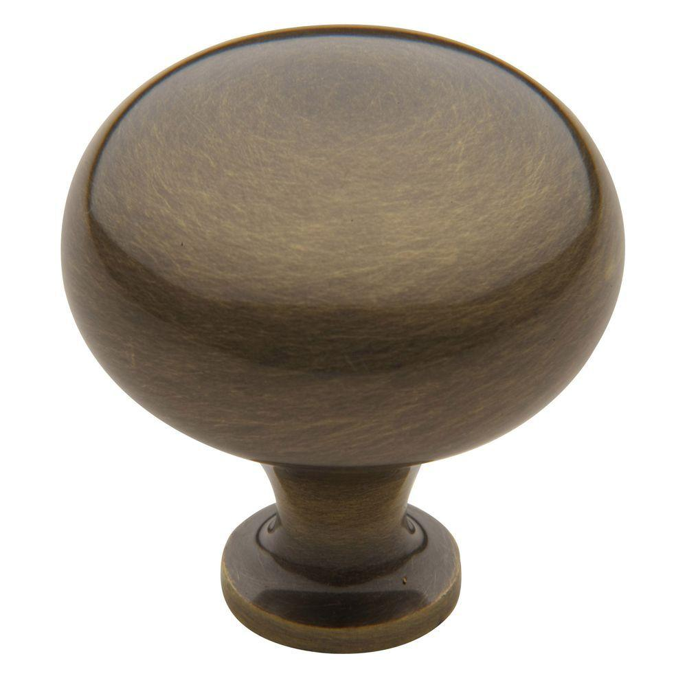 Baldwin Classic 1-3/4 in. Satin Brass And Black Round Cabinet Knob