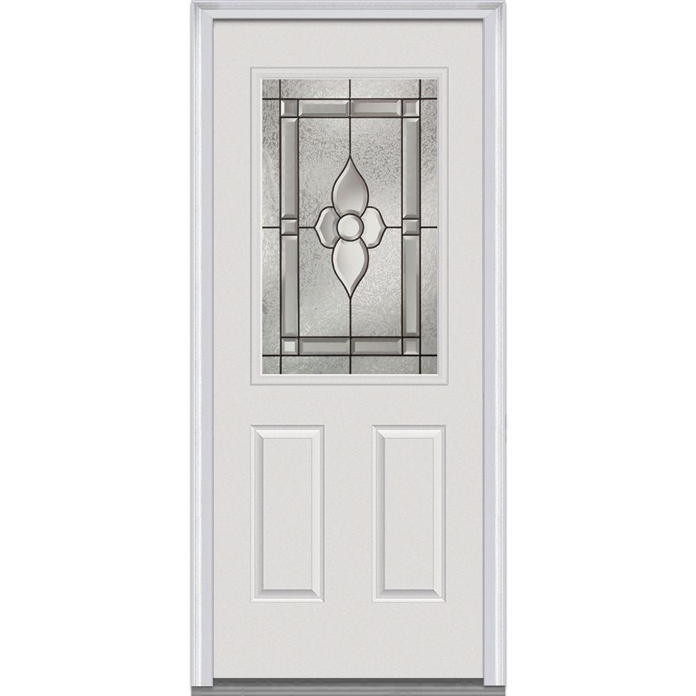 Milliken Millwork 33.5 in. x 81.75 in. Master Nouveau Decorative Glass 1/2 Lite 2 Panel Primed White Majestic Steel Exterior Door Sale $659.34 SKU: 206342084 ID: Z001467L UPC: 769001042852 :