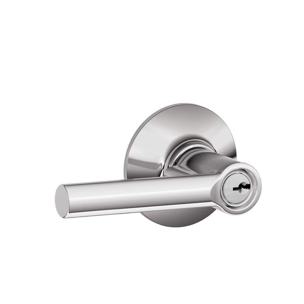 Entry Door Levers: Schlage Entrance Handle & Lock Sets Broadway Bright Chrome Keyed Entry Lever F51A BRW 625