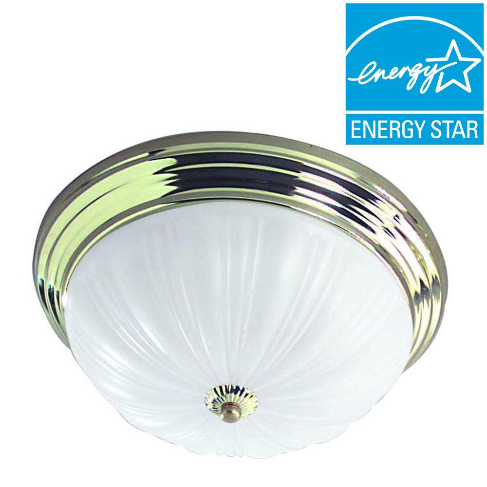Biscayne 2-Light Brass Classic Flushmount Ceiling Fixture