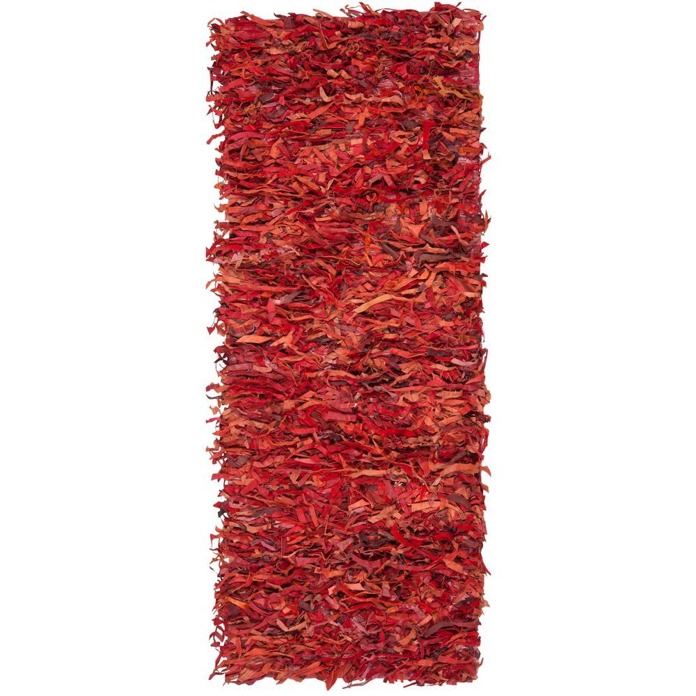 Leather Shag Red 2 ft. 3 in. x 11 ft. Rug