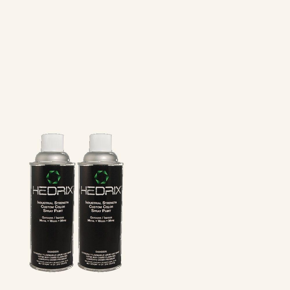 Hedrix 11 oz. Match of W-B-600 Luster White Low Lustre Custom Spray Paint (2-Pack)