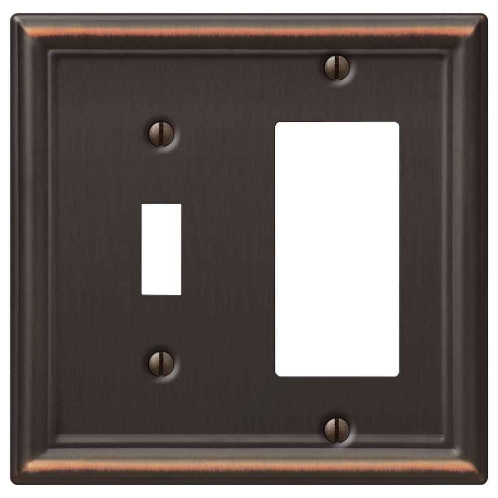 Hampton Bay Chelsea 1 Toggle and 1 Decora Wall Plate - Aged Bronze
