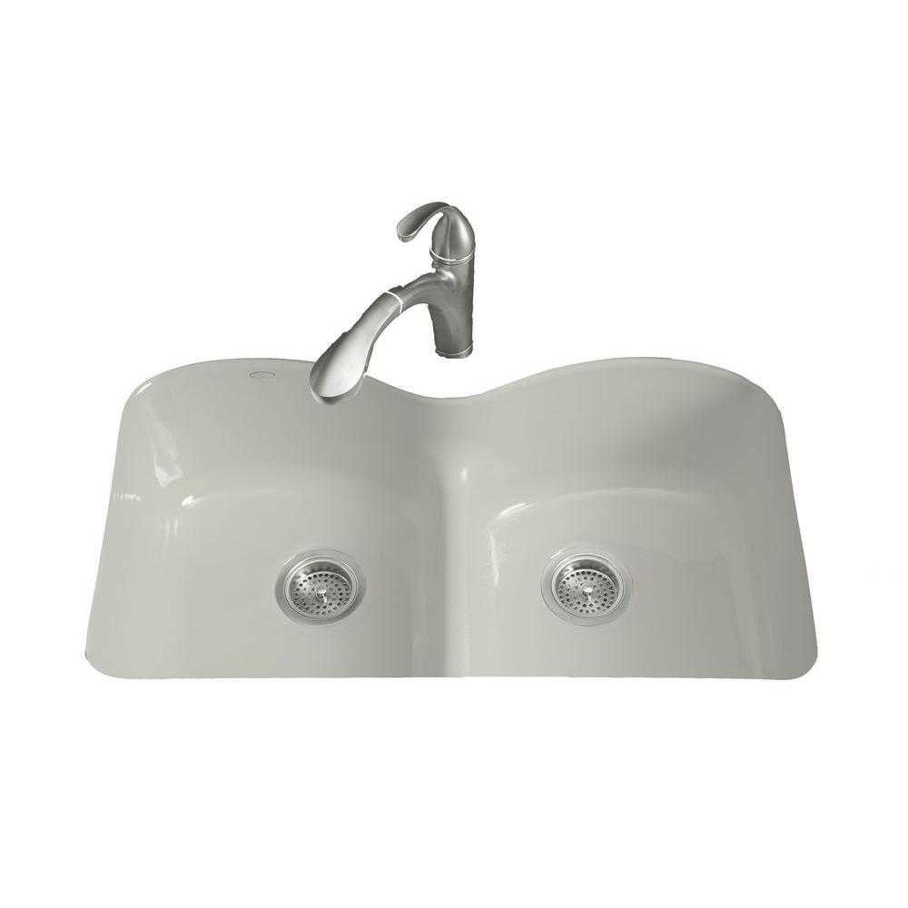 KOHLER Langlade Smart Divide Undermount Cast-Iron 33 in. 6-Hole Double Bowl Kitchen Sink in Ice Grey
