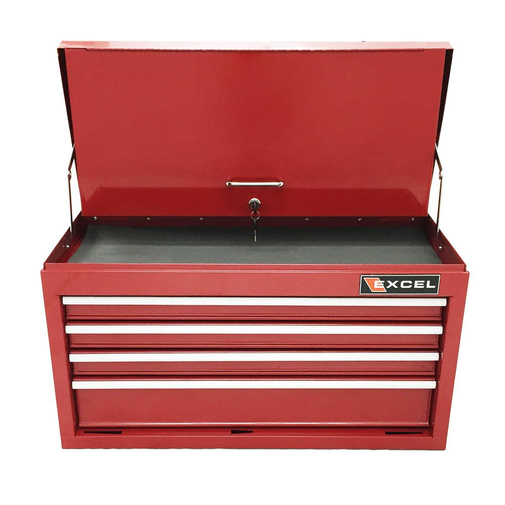 26 in. 4-Drawer Steel Top Chest, Red