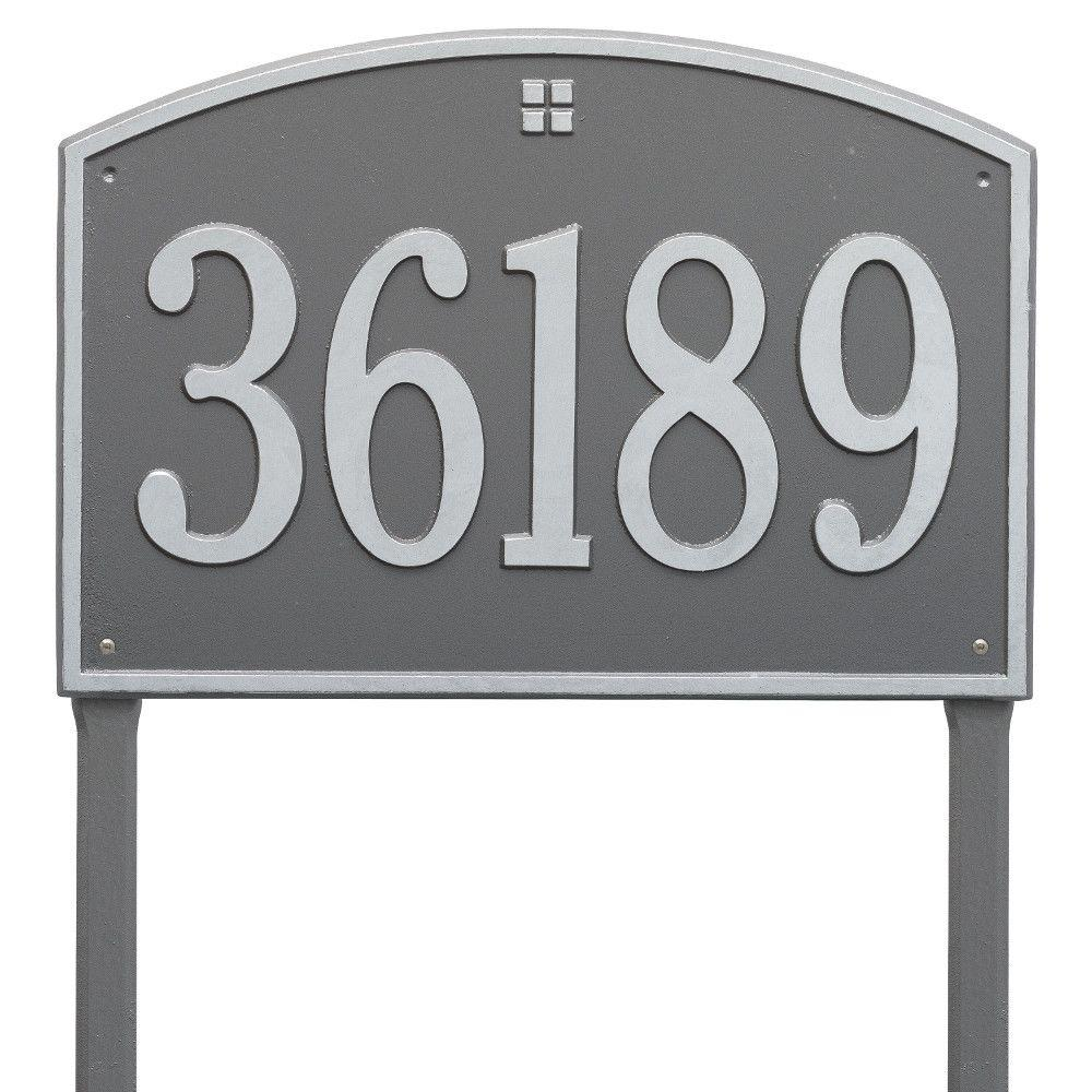 Cape Charles Rectangular Estate Pewter/Silver Lawn 1-Line Address Plaque