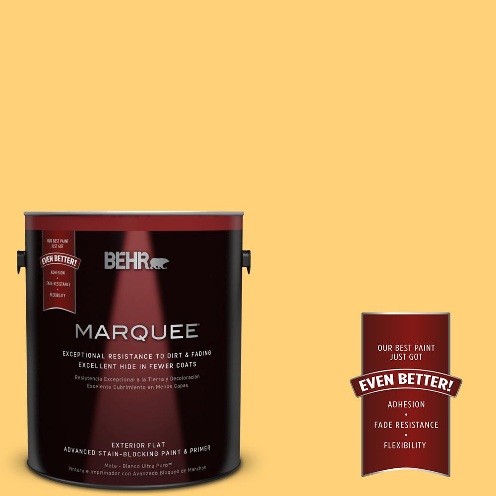 BEHR MARQUEE 1-gal. #P260-5 Yellow Jubilee Flat Exterior Paint