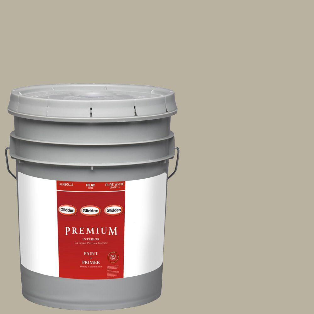 Interior Paint, Exterior Paint & Paint Samples: Glidden Premium Paint 5-gal. #HDGWN63 Chimayo Sage Flat Latex Interior Paint with Primer HDGWN63P-05F