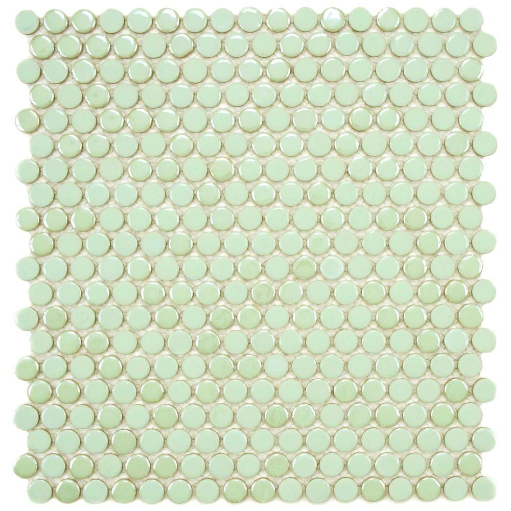 Merola Tile Cosmo Penny Round Mint 11-1/4 in. x 12 in. x 4 mm Porcelain Mosaic Tile