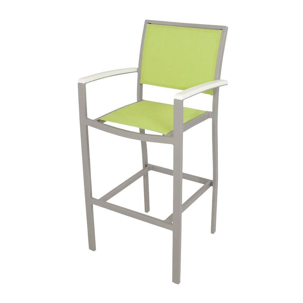 Bayline Textured Silver/White/Avocado Sling Patio Bar Arm Chair