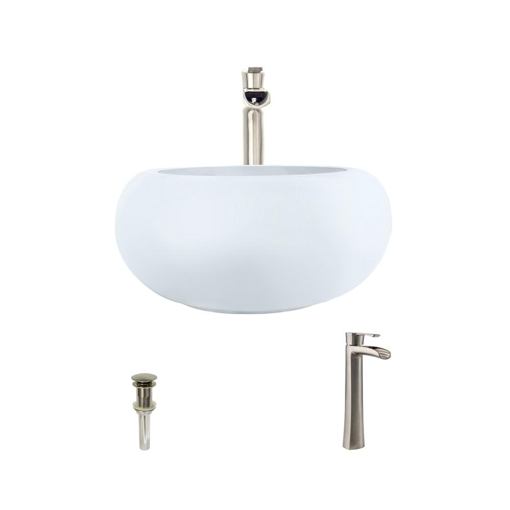 Porcelain Vessel Sink in White with 731 Faucet and Pop-Up Drain