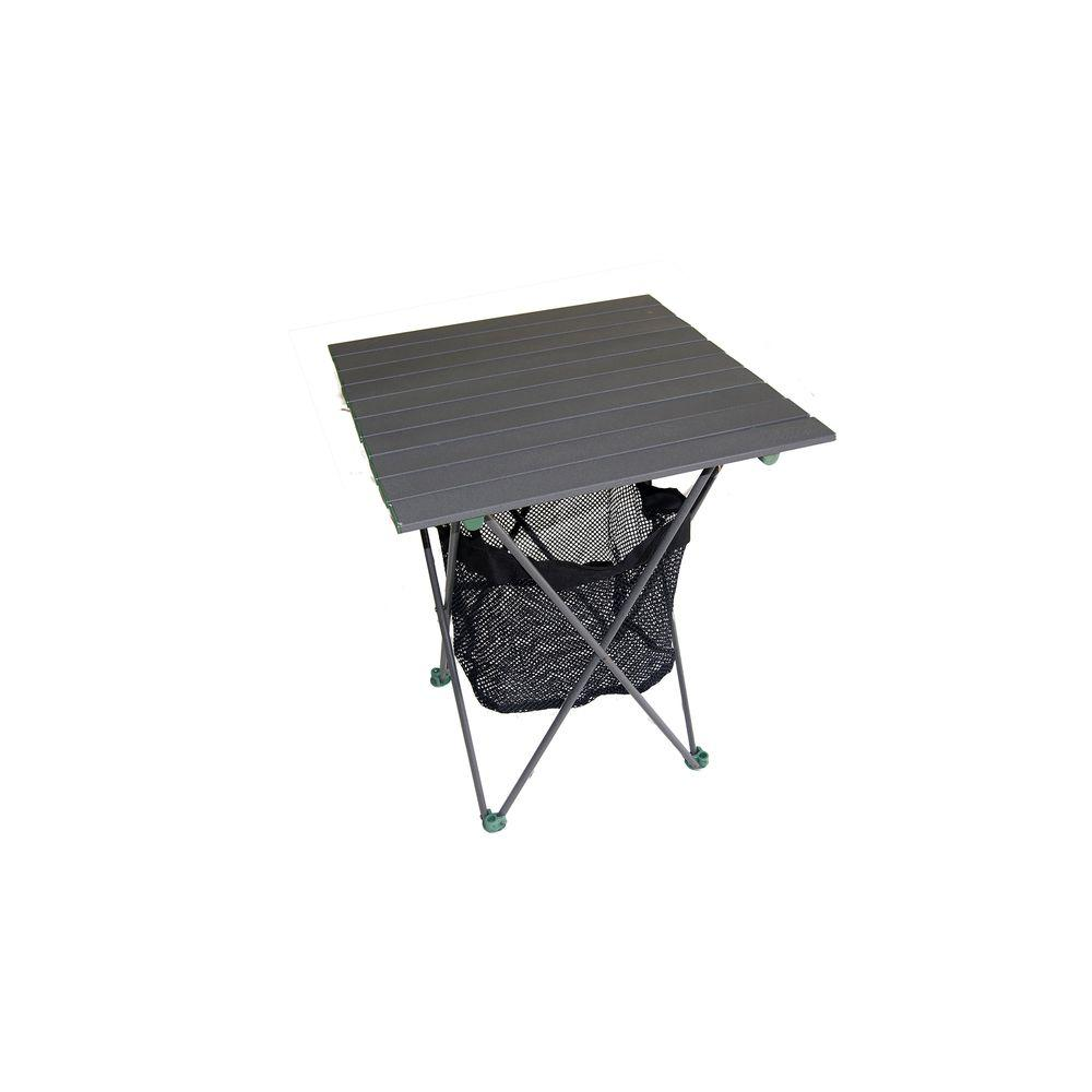 27.25 in. Aluminum Roll Slate Graphite Grey Table with Storage