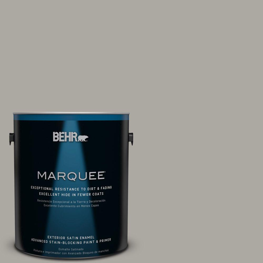 BEHR MARQUEE 1 gal. #PPU24-10 Downtown Gray Satin Enamel Exterior Paint-945401