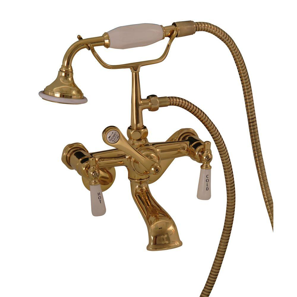 Pegasus 3-Handle Claw Foot Tub Faucet with Elephant Spout and Hand Shower in Polished Brass