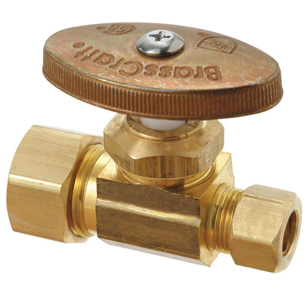 BrassCraft 1/2 in. Nominal Compression Inlet x 3/8 in. O.D. Compression Outlet Multi-Turn Straight Valve