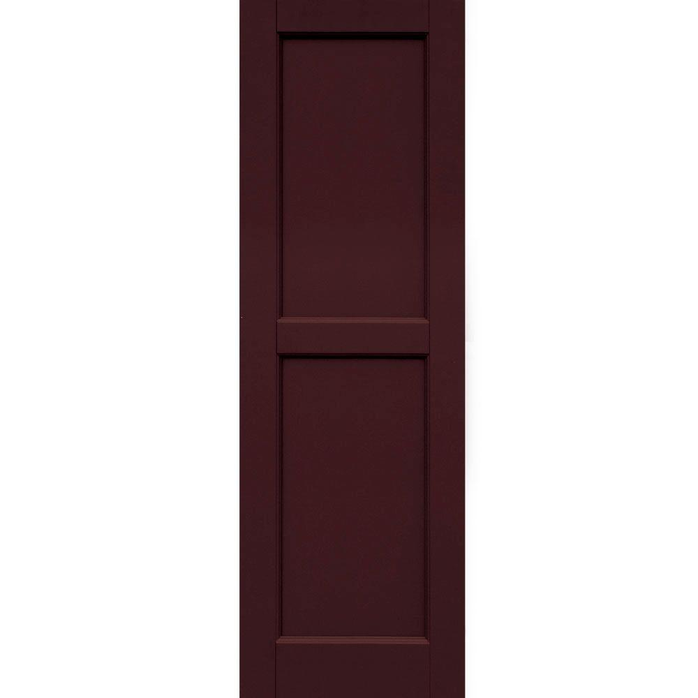 Winworks Wood Composite 15 in. x 47 in. Contemporary Flat Panel Shutters Pair #657 Polished Mahogany