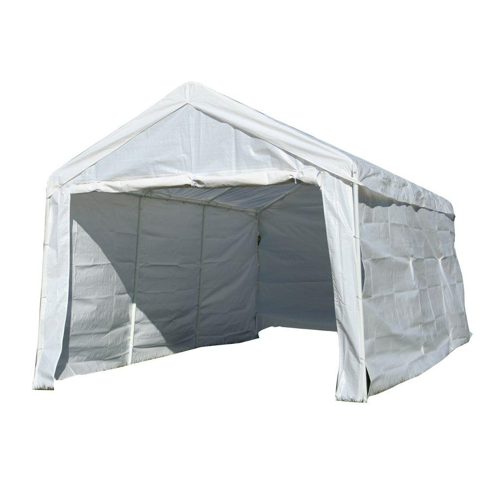 Sportsman 10 ft. x 20 ft. White Portable Canopy Pavilion with Sides