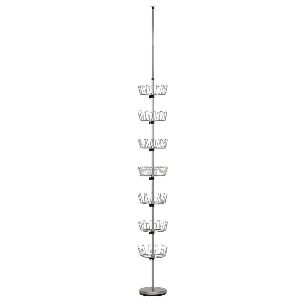 null Floor to Ceiling Silver Shoe Tree with 6-Carousels and 1-Basket