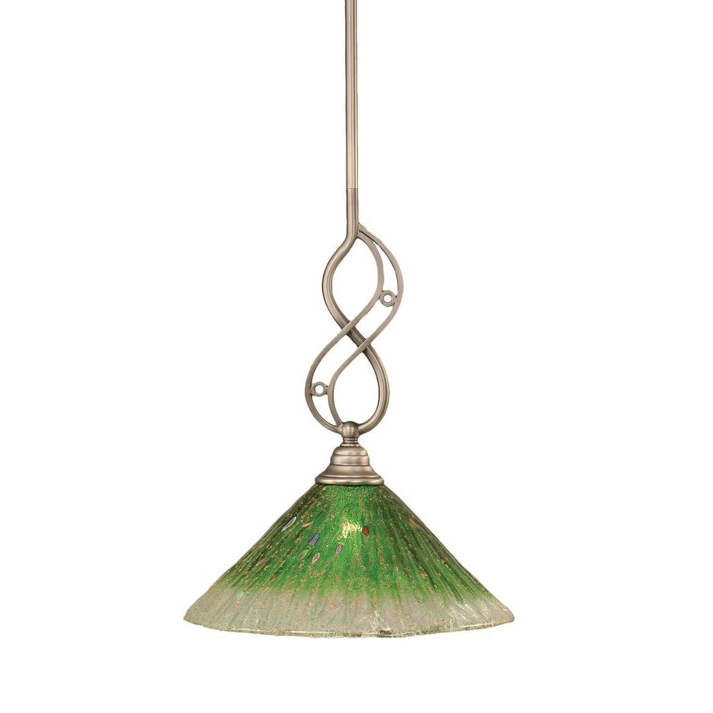 Concord 1-Light Brushed Nickel Pendant with Kiwi Green Crystal Glass