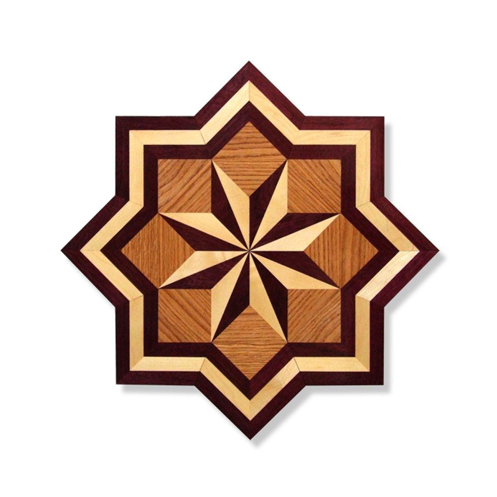 PID Floors 3/4 in. Thick x 36 in. Wide Star Medallion Unfinished Decorative Wood Floor Inlay MS001