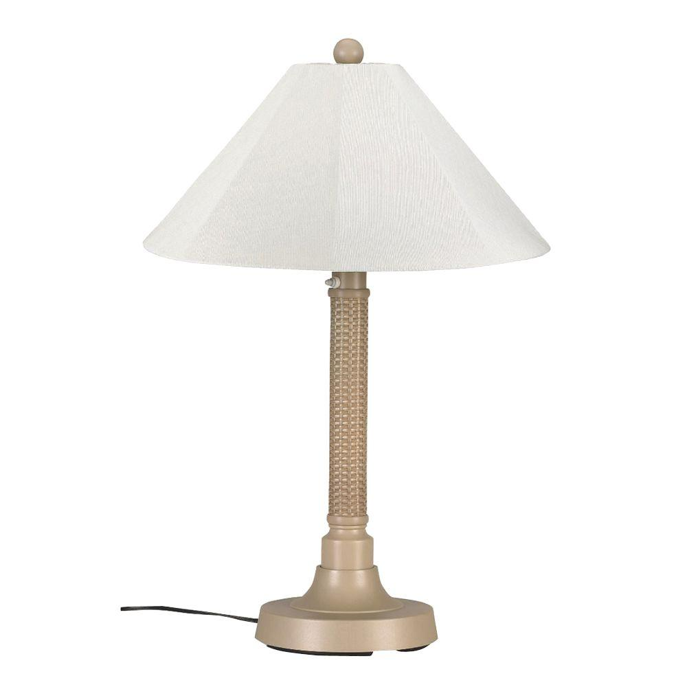 Bahama Weave 34 in. Mojavi Outdoor Table Lamp with Natural Linen