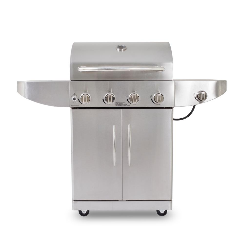 4-Burner LP Gas Grill Stainless in Steel with Side Burner