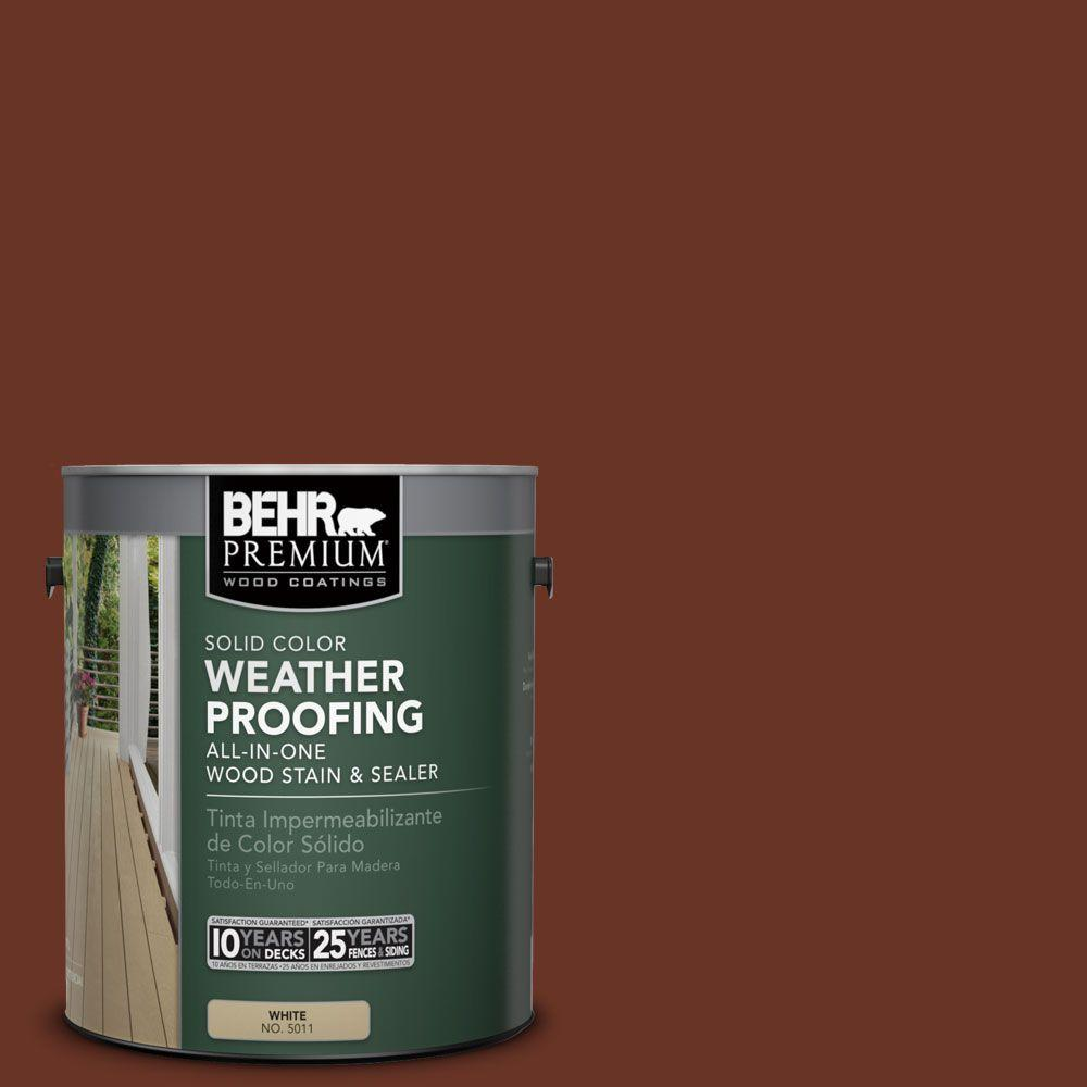 BEHR Premium 1 gal. #SC-118 Terra Cotta Solid Color Weatherproofing All-In-One