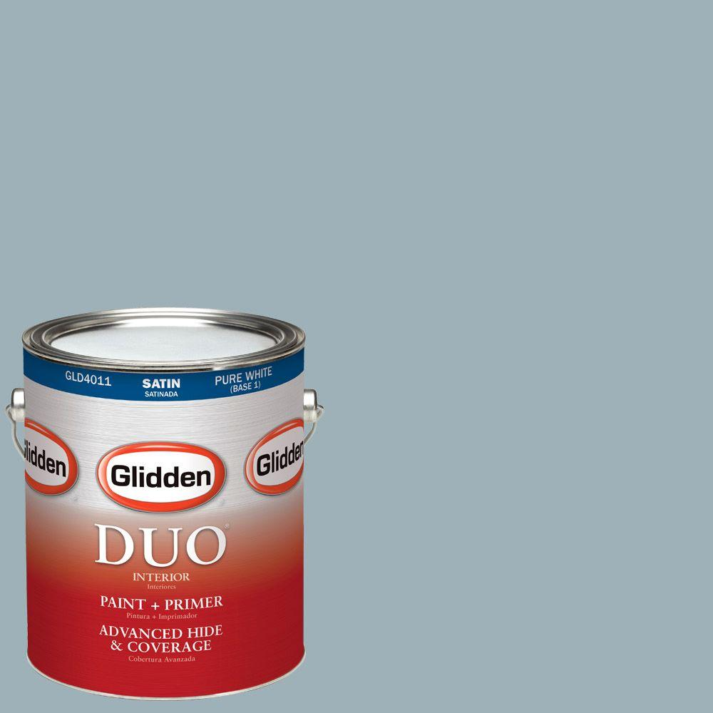 Glidden DUO 1-gal. #HDGCN32D Soft Traditional Blue Satin Latex Interior Paint with Primer
