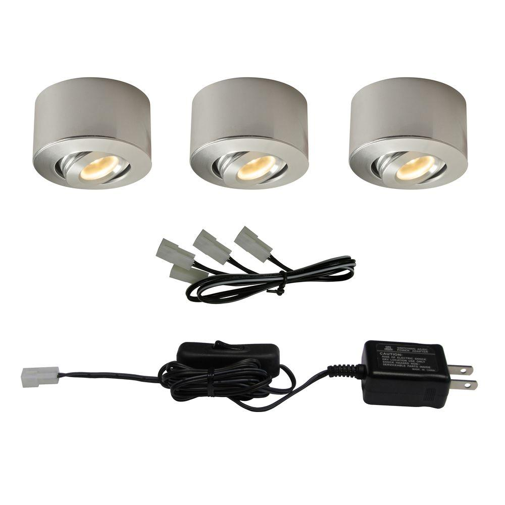led sandblasted aluminum under cabinet mini puck light 3pack - Led Cabinet Lighting