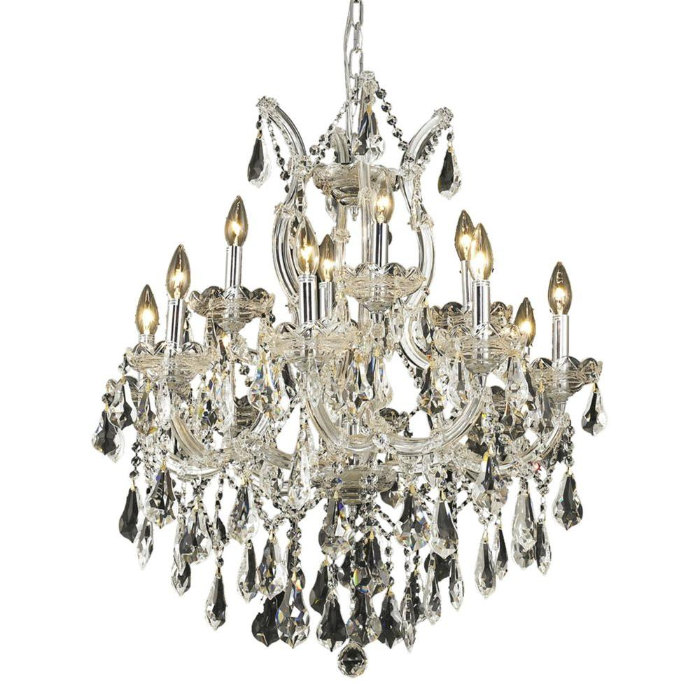 Elegant Lighting 13-Light Chrome Chandelier with Clear Crystal-EL2801D27C/RC -