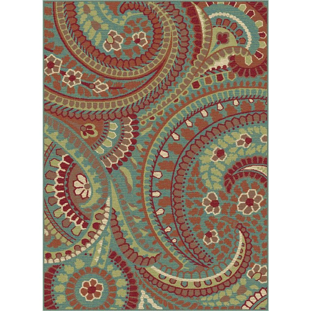 Tayse Rugs Deco Blue 5 ft. 3 in. x 7 ft. 3 in. Transitional Area Rug