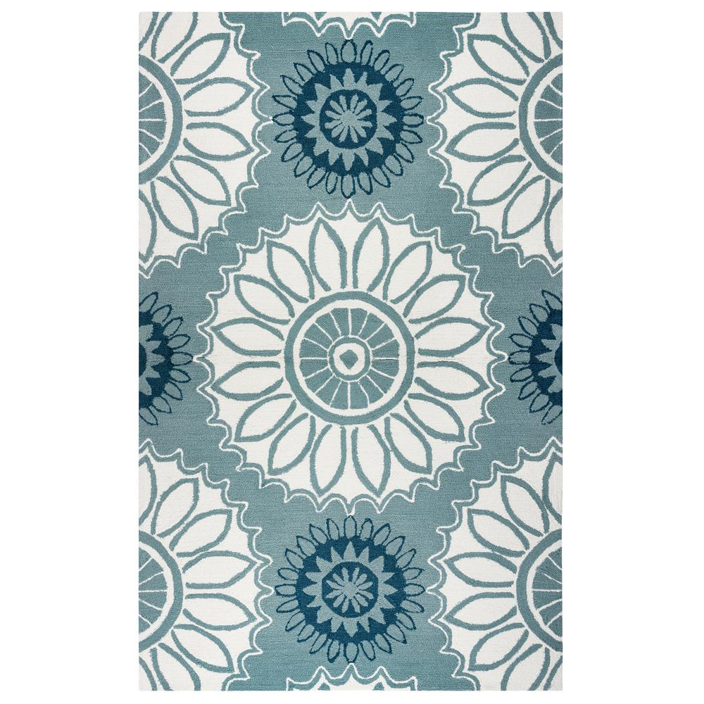 Azzura Hill Blue Medallion 2 ft. x 3 ft. Indoor/Outdoor Accent