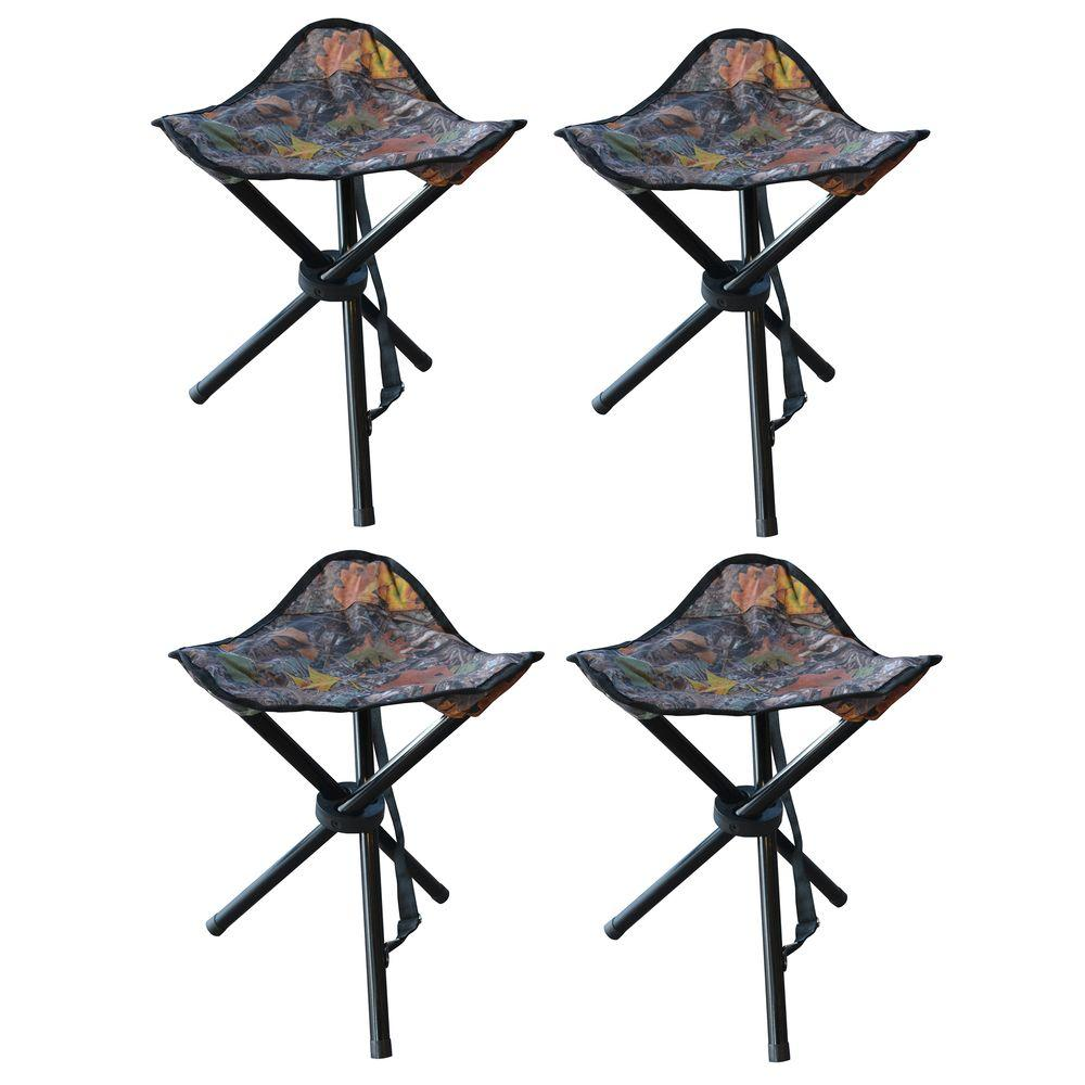 Buffalo Outdoor 19 in. Black Metal and Nylon Tripod Hunting Stool Set (4-Pack)