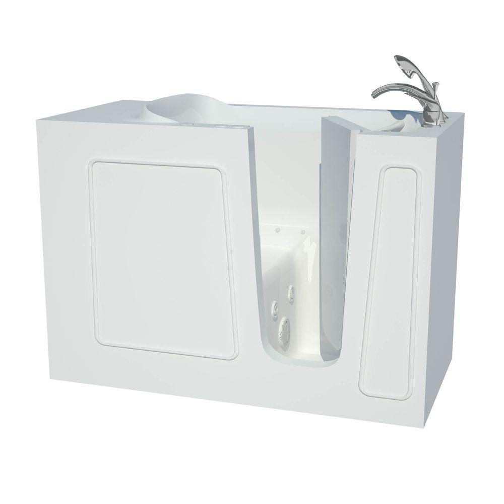 null Contractor Series 4.5 ft. Right Drain Whirlpool and Air Walk-In Bathtub in White
