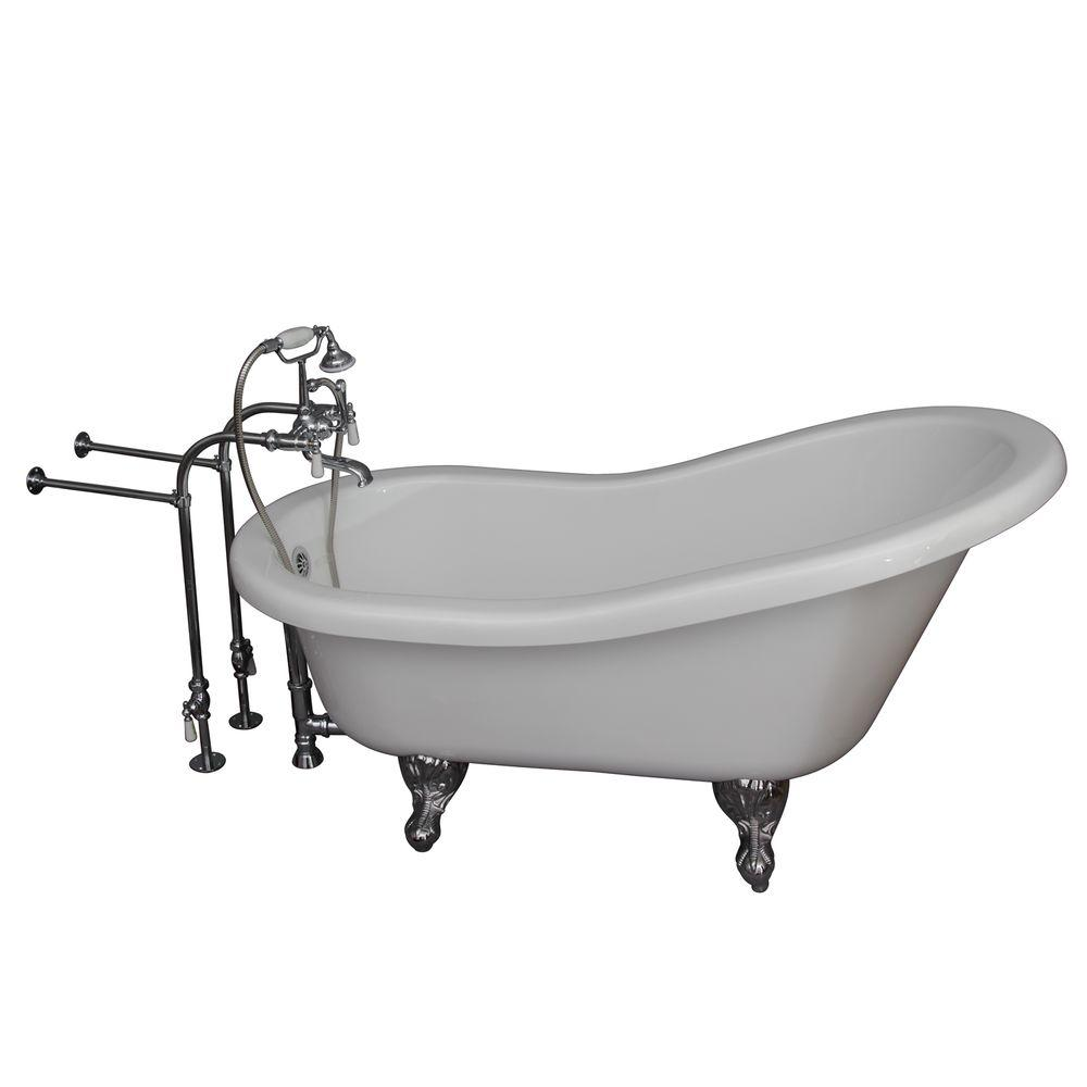 Barclay Products 5 ft. Acrylic Ball and Claw Feet Slipper Tub in White with Polished Chrome Accessories