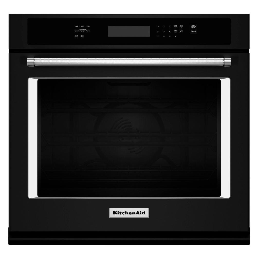 27 in. Single Electric Wall Oven Self-Cleaning with Convection in Black